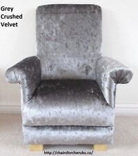 Silver Grey Crushed Velvet Child's Chair Kid's Armchair Bedroom Nursery Lounge