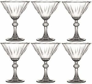 Set of 6 Vintage Style Martini Cocktail Glasses