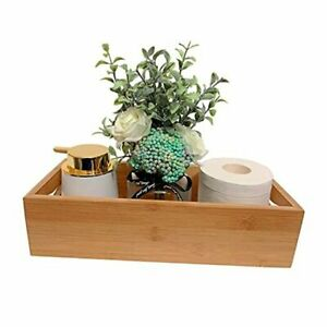 Bathroom Tray - Bamboo Wooden Basket with Handles for Toilet Tank Top and
