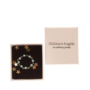 RRP €150 GIOLINA E ANGELO 18K Gold Plated Rosary Ring L 1/2 / US 6 HANDMADE