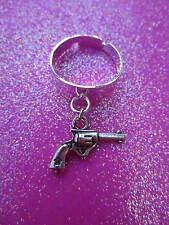 Adjustable Gun Charm Dangle Ring