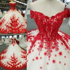 Princess Red White Wedding Dress Handmade Flowers Bridal Gowns Cathedral Train