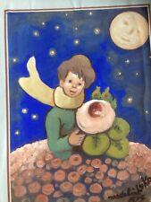 MADELEINE LUKA/ AQUARELLE ORIGINALE couleur/LE PETIT PRINCE/daté et signé 1967
