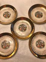 5 Vintage Sabin Crest-O-Gold Salad Plates 22Kt Gold Made In USA