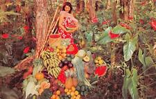 Woman with Hawaii's Fruits & Vegetables Vintage Nani Li'i Postcard ca 1950s