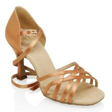 "Ray Rose 860 Kalahari Dark Tan Satin Rhythm Latin Dance Shoe-2""/2.5"" Flared Heel"
