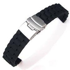 2X(Bracelet / Chaine de Montre de Silicone Etanche a Boucle Deployante 18mm WT