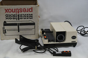 Prestinox Type 640 Auto 35mm Film Slide Projector with Cord Remote - Rollei Cart