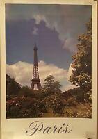 Original Vintage travel Poster Paris Eiffle Tower Mid Century