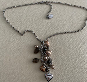Azendi Necklace Rose Gold Hearts, Pearls And Silver