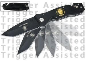 Black Fire Fighter & Police Pocket Knife Spring Assisted Opening Knives