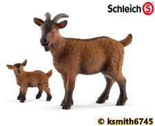 Schleich GOAT & KID solid plastic toy farm pet animal nanny baby * NEW *💥
