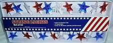 Set of PATRIOTIC STAR LIGHTS  20 Ct  Red, White and Blue  Stars  12' L