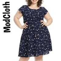 Modcloth Navy Floral Tie Waist Dress Size Medium