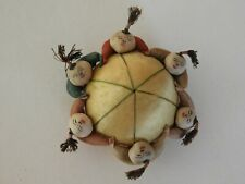 Vintage 6 Chinese Men Holding Hands Around Pin Cushion Satin BX2-1A