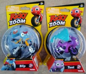 RICKY ZOOM 2021 TOOT & BLIP TOMY TOYS FREE STANDING / WHEELING MOTORCYCLES RARE