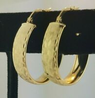 14k Solid Yellow Gold 5.9MM Round Hoop Earrings Snap Closure Thick 1 Inch