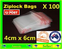 100x Ziplock Zip Lock Clear Poly Bags 4cms X 6cm Reclosable Plastic Baggies