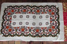 ANCIENNE NAPPE DE TABLE VINTAGE ORANGE ANNEES 60 - 70 FLEURS