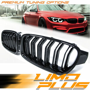 Gloss Black Double Slats Front Bumper Grill Grille for BMW 3 Series F30 F31 fg42