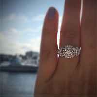 Gorgeous Round White Sapphire Halo Wedding Ring 925 Silver Engagement Jewelry