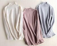 Women Sweater 100% Cashmere Outwear Warm Winter Hip Length Casual Long Sleeve