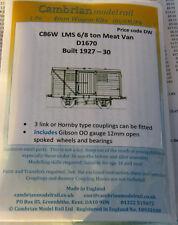 CAMBRIAN C86W KIT LMS 6/8Ton MEAT VAN D1670 NEW OO GAUGE GIBSON WHEELS/BEARINGS