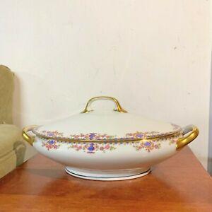Antique Mavaleix & Granger Limoges Blue Triangles, Urns & Fans, Floral Oval Dish