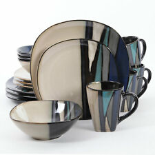 Gibson Elite 16 Piece Reactive Glaze Dinnerware Plates, Bowls, and Mugs, Teal