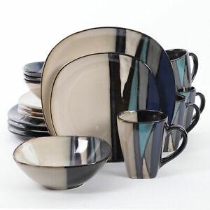 Gibson Elite 16 Piece Reactive Glaze Dinnerware Plates, Bowls, and Mugs, Teal