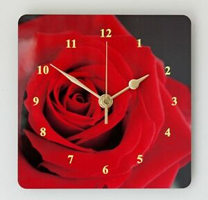 Square Wall Clock Single Red Rose Floral design Size 19cm by 19cm