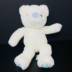 "Russ Berrie 12"" White Bear Plush Blue Nose Plaid Feet Baby Lovey Stuffed Animal"