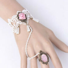 Vintage Gothic Style Bridal White Pink Lace Bracelet Ring Wrist Decoration BB147