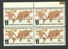 Vintage Unused US Postage Block 11 Cent Stamps Telecommunication Union Internati
