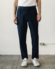 Universal Works - Tapered Pleated Seersucker pants trousers size 30 Navy