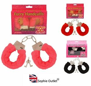 FURRY FLUFFY HANDCUFFS Fancy Dress Hen Do Night Stag Do Role Play Party Toy UK