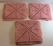 10 Hand Crocheted Pink 6-7� X 6-7� Squares
