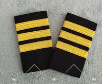 3 Bar Gold Airline Pilot Epaulets Captain Shoulder Board Insignia Slider Cosplay