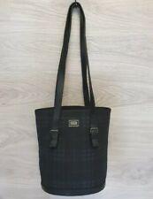 Burberry Shoulder Bag Bucket Navy Nova Check plaid leather Entrupy Authentic