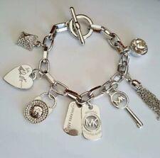 MK Michael Kors Charms Bracelet Bangle Womens Jewelry Accessory Silver Tone Key