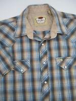 Mens Large Larry Mahan pearl snap plaid multicolor shirt