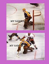"""2 BOB JANECYK LA KINGS VINTAGE NHL JERSEY GOALIE MASK PADS 8"""" by 10"""" PHOTOS"""