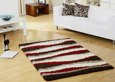 X LARGE CHOCOLATE BROWN RED IVORY SHAGGY STRIPED RUG