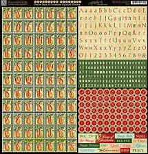 Graphic45 TWELVE DAYS OF CHRISTMAS ALPHABET 12x12 Sticker Sheet