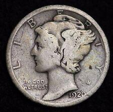 1920-D MERCURY DIME / CIRCULATED GRADE GOOD / VERY GOOD 90% SILVER COIN