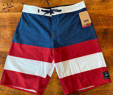 """Vans 4 Way Stretch Board Shorts Red White Blue Size 30"""" W/ 10"""" Inseam NWT"""