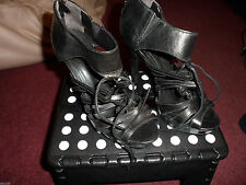 BERTIE SIZE 37 BLACK CAGE SHOE WITH BACK ZIP PRE LOVED