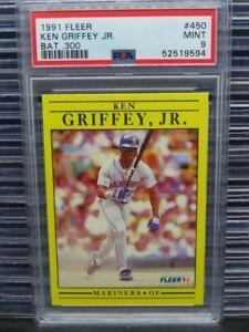 1991 Fleer Ken Griffey Jr Bat .300 #450 PSA 9 Mariners (94) R118