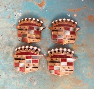 FOUR 1953 Cadillac  Emblem Crest Badge for Sombrero Hubcap for SHOW CAR