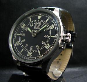 Henri Levy Antique WWI Big Pilot's Steel Wristwatch Hi-Grade Chronometer